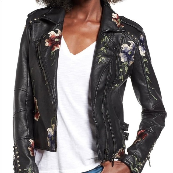 Blank NYC floral leather jacket like new
